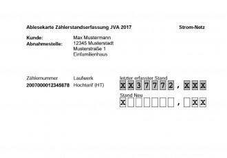Ablesekarte zur Jahresverbrauchsabrechnung 2017